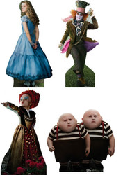 Disney's Alice In Wonderland (2010) - Lifesize Cardboard Cutout / Standee Set of 4 Characters (The Mad Hatter, Alice, The Red Queen and Tweedle Dee & Tweedle Dum)