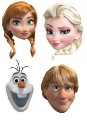 Frozen Party Face Mask Pack Of 4 - Anna, Elsa, Olaf and Kristoff