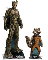 Groot and Rocket Raccoon Guardians Of The Galaxy Lifesize Cardboard Cutout Set Of 2
