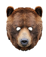 Grizzly Brown Bear Animal Card Party Face Mask