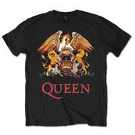 Queen Classic Crest Logo Black Official Unisex T Shirt