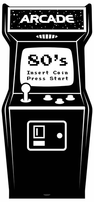 1980s Black and White Video Arcade Game  Cardboard Cutout