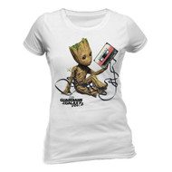 Baby Groot Guardians Of The Galaxy Vol. 2 Ladies Fitted White T-Shirt