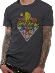 Mighty Morphin Power Rangers Group Shot Official Grey Unisex T-Shirt