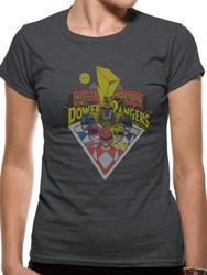 Mighty Morphin Power Rangers Group Shot Official Ladies Fitted T-Shirt