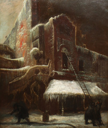 Ashcan School New York City FDNY Lower East Side Winter Fire Fighter Original Oil Painting