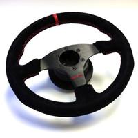 Driven Flat Faced Black Suede Steering Wheel