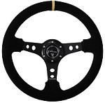 """NRG Innovations 350MM SPORT STEERING WHEEL (3"""" DEEP) - SUEDE W/ YELLOW CENTER MARKING"""
