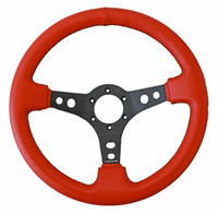 NRG Innovations SPORT LEATHER STEERING WHEEL RED LEATHER W/ BLACK STITCHING