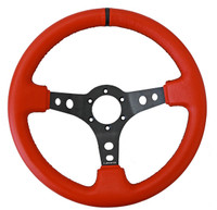 """NRG Innovations SPORT STEERING WHEEL (3"""" DEEP) RED LEATHER W/ BLACK STITCHING AND BLACK CENTER MARKING"""