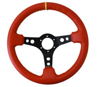 """NRG Innovations SPORT STEERING WHEEL (3"""" DEEP) RED LEATHER W/ YELLOW STITCHING AND YELLOW CENTER MARKING"""