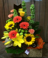 Classic Flowers & Wine Basket in Citrus Tones