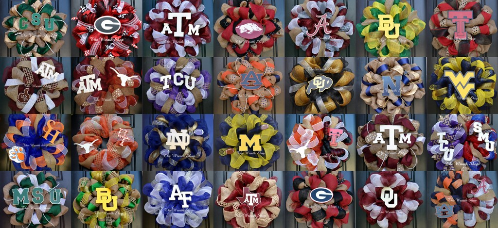 Wreath. College Wreaths, Collegiate Wreaths and Team Wreaths on burlap, deco mesh, and grapevine.