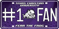 TCU Horned Frogs Fan Embossed Metal License Plate