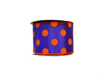 "2.5"" Polka Dot Ribbon: Purple/Orange - 10 yards"