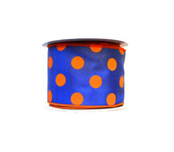 "2.5"" Polka Dot Ribbon: Royal Blue/Orange - 10 yards"