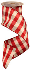 "4"" Dupioni Ribbon: Red/White Check - 10 Yds"
