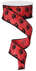 "Paw Print Ribbon: Red/Black - Satin Wired - 1.5"" X 10Yds"