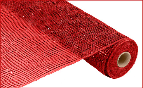 "Deco Mesh - Wide Foil - Red w/ Red Foil - 21"" X 10Yd (RE104124)"