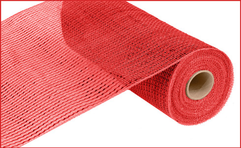 "Deco Mesh - Wide Foil - Red w/ Red Foil - 10"" x 10Yd (RE134124)"
