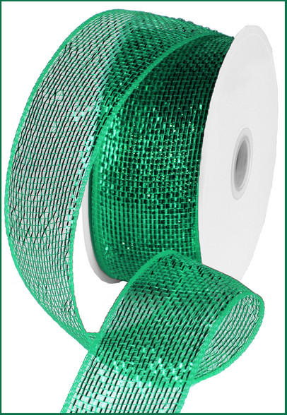 Deco Mesh Ribbon - Metallic - Emerald w/ Emerald Foil (RS200406)