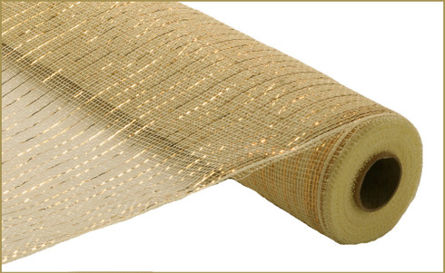 Deco Mesh - Metallic - Cream w/ Gold Foil - 21 inch X 10Yd (RE100172)