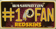 Washington Redskins NFL Fan Metal License Plate