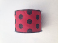 "2.5"" Glitter Polka Dot Ribbon: Burgundy/Black- 10 yards"
