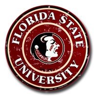 Florida State University Seminoles Embossed Metal Circular Sign