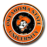 Oklahoma State University Embossed Metal Circular Sign
