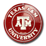 Texas A&M Embossed Metal Circular Sign