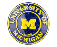 University of Michigan Embossed Metal Circular Sign