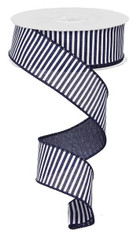"1.5"" Horizontal Stripe Ribbon: Navy/White - 10Yds"