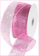 "Metallic Pink with Pink Foil  Deco Mesh - 2.5"" X 25Yds"