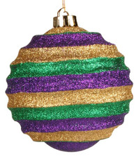 100mm Mardi Gras Glitter Stripe Ornament