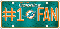 MIami Dolphins #1 Fan NFL Embossed Metal License Plate