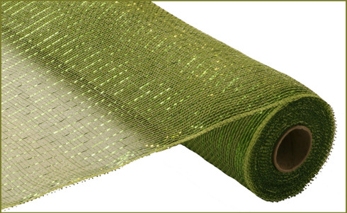 Deco Mesh - Deluxe Metallic - Moss/Apple with Lime Foil  (RE100149)