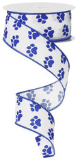 "Paw Print Ribbon: White/Blue - Satin Wired - 1.5"" X 10Yds"