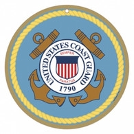 "10"" round US Coast Guard Logo Wooden Sign"
