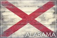 "7""x10"" Alabama State Flag Wooden Sign"
