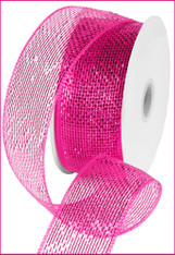 Deco Mesh Metallic Ribbon - Hot Pink w/ Hot Pink Foil (RS200411)