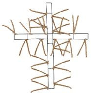 "27"" Pencil Work Cross Form Burlap"