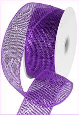 Deco Mesh Metallic Ribbon - Purple w/ Purple Foil (RS200423)
