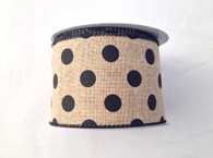 "2.5"" x 10yd Canvas Polka Dot Ribbon: Natural/Black"