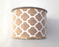 "2.5"" x 10yd Canvas Quatrefoil Ribbon: Natural/White"