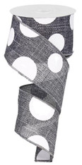 "2.5"" x 10yd Faux Burlap Giant Dot Ribbon: Grey/White"