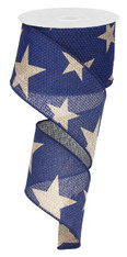 "2.5"" X 10Yds Faux Burlap Star Ribbon: Navy Blue/Beige"