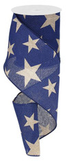 "4"" X 10Yds Faux Burlap Star Ribbon: Navy Blue/Beige"