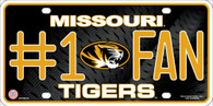 Missouri Tigers #1 Fan Mizzou Embossed Metal License Plate