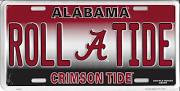 University of Alabama Roll Tide Crimson Tide Embossed Metal License Plate